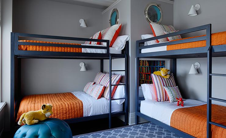 Kids Bedroom Library kids room with navy bunk beds - transitional - boy's room
