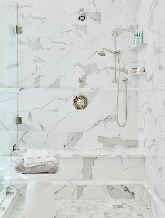 Shower With Marble Chair Rail Transitional Bathroom