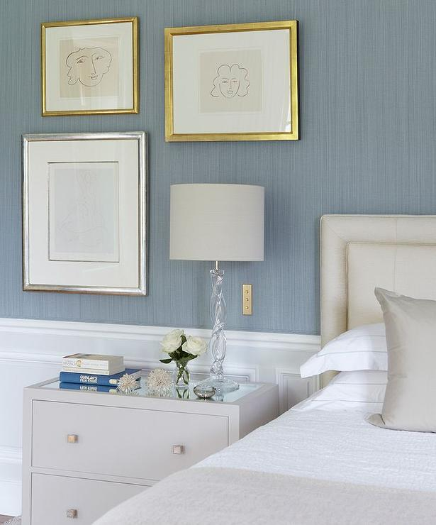 Blue and Grey Bedrooms with Wainscoting - Transitional - Bedroom