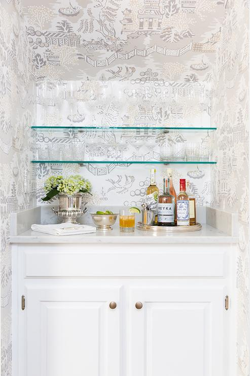 Bar Nook with Stacked Glass Shelves - Transitional - Dining Room