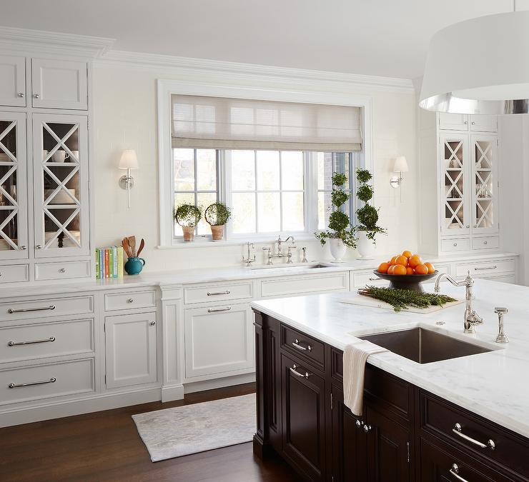 White Kitchen Cabinets with Espresso Island  Transitional  Kitchen
