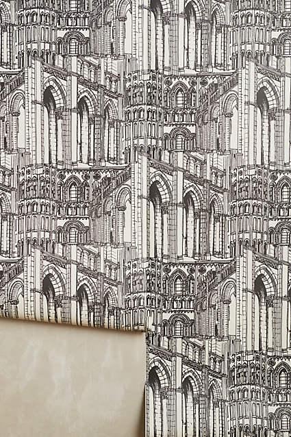 Gothic Arches Wallpaper In Black And White
