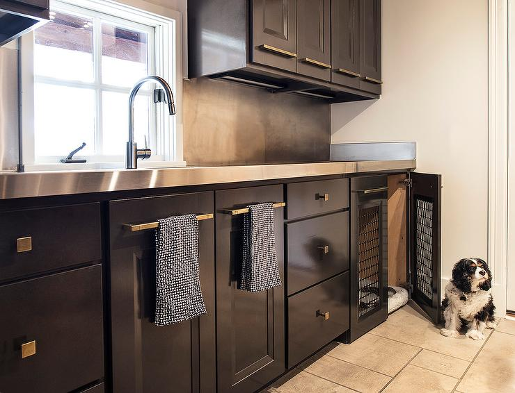 Black Laundry Room Cabinets With Stainless Steel Countertops Contemporary Laundry Room