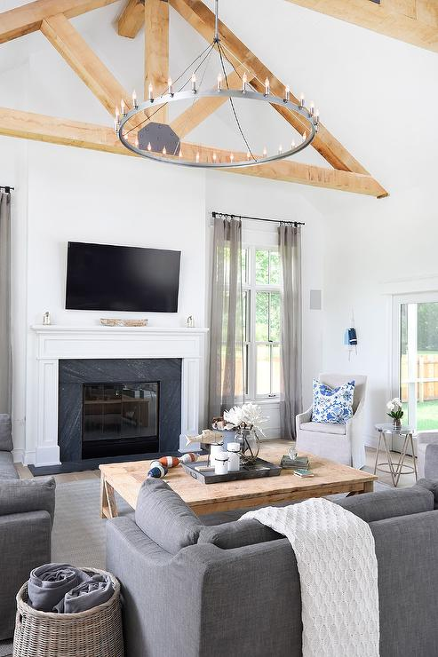 Modern Cottage Living Room : Contemporary Cottage Living Room with Truss Ceiling - Cottage - Living ...
