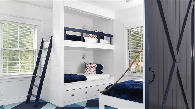 White Built In Bunk Beds With Navy Safety Rail Cottage