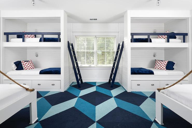Shiplap built in bunk beds with navy bunk bed ladder for 4 bunk beds in a room