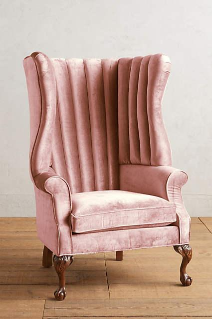 Slub Velvet English Fireside Chair In Rosewood