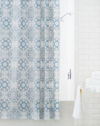 kassatex gazing medallion shower curtain in blue and white