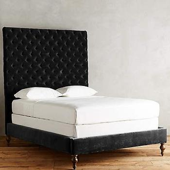 velvet tufted denouement bed in black - Black Tufted Bed