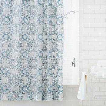 blue and gray shower curtain. Kassatex Gazing Medallion Shower Curtain in Blue and White Batik Pattern