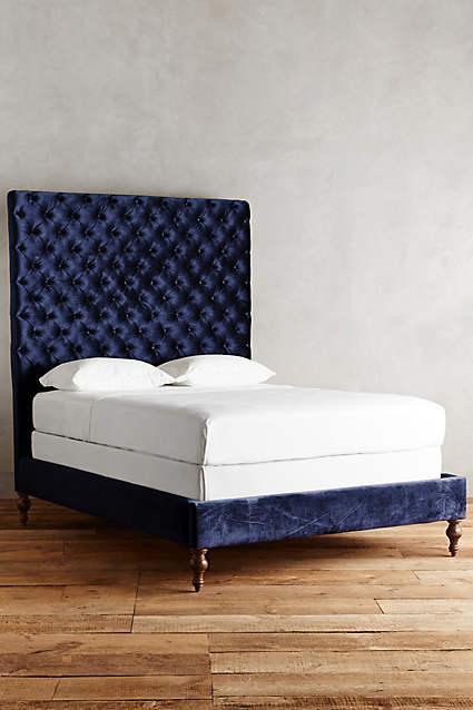 Slub Velvet Denouement Bed In Blue
