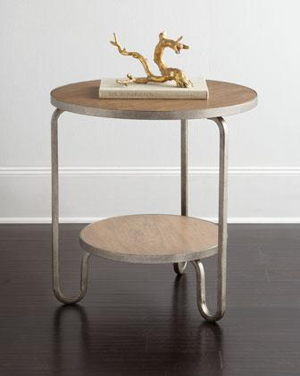 Shelby Round Wood Steel End Table