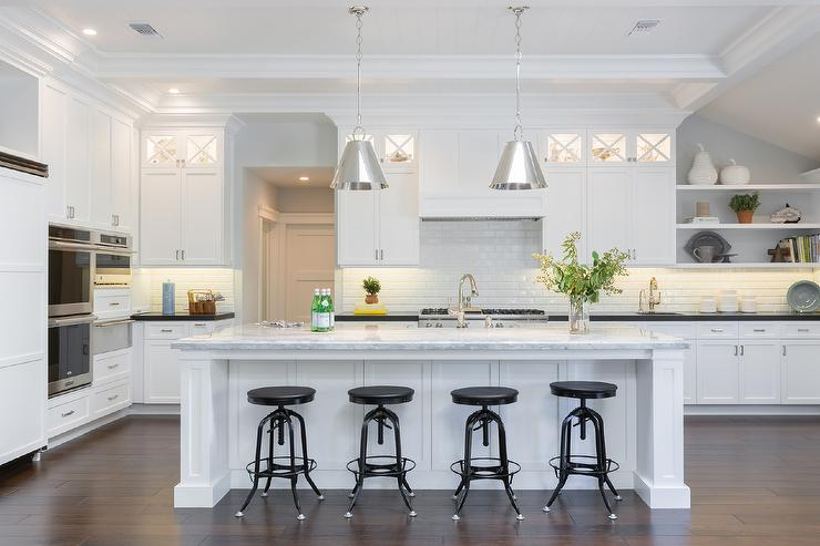 Kitchen Island With Super White Quartzite Countertop