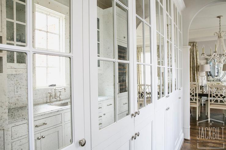 Mirrored Bathroom Cabinet Double Doors Bath Wall Mounted Storage Furniture White: Antiqued Mirrored Pantry Cabinets
