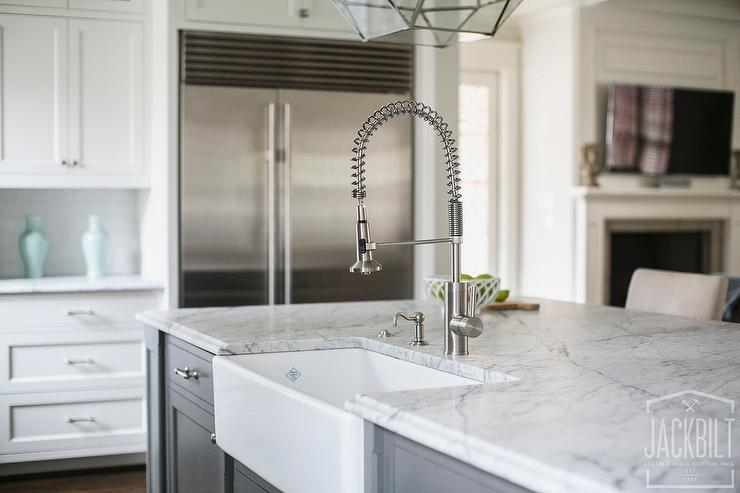 wonderful Kitchen Island Faucets #8: Charcoal Grey Island with farmhouse Sink and Pull Out Faucet