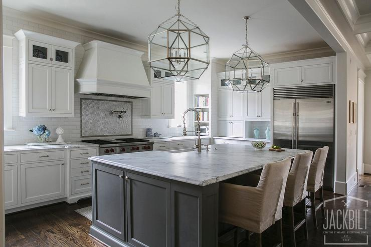 Grey And White Kitchen With Island grey center island with white marble counters - transitional - kitchen