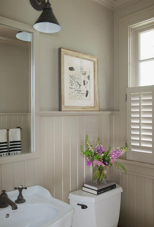 Taupe Powder Room With Beadboard Walls Cottage Bathroom