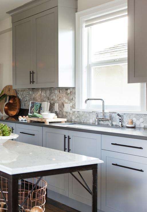 Gray Kitchen Cabinets With Bronze Pulls Transitional