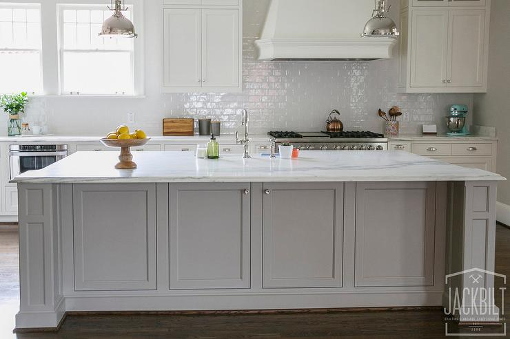 Grey Center Island With White Marble Counters