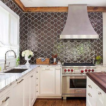kitchen with brown moroccan tiles backsplash - Backsplash Design Ideas