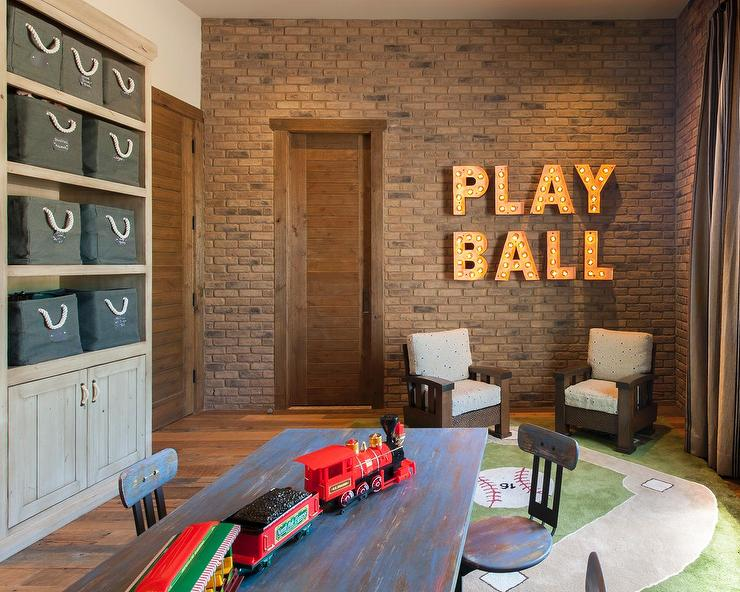 Playroom With Exposed Brick Walls
