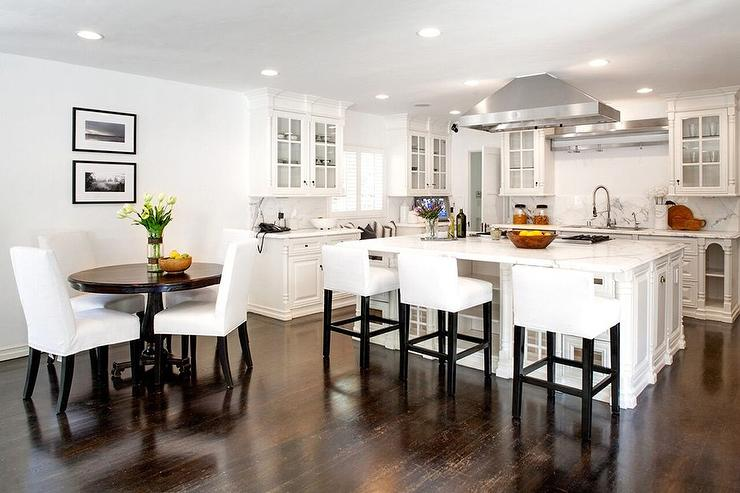 White Kitchen With Dark Wood Floors Transitional Kitchen