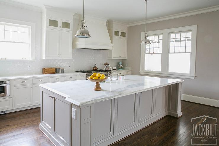 White kitchen with grey island transitional kitchen for Grey and white kitchen cabinets