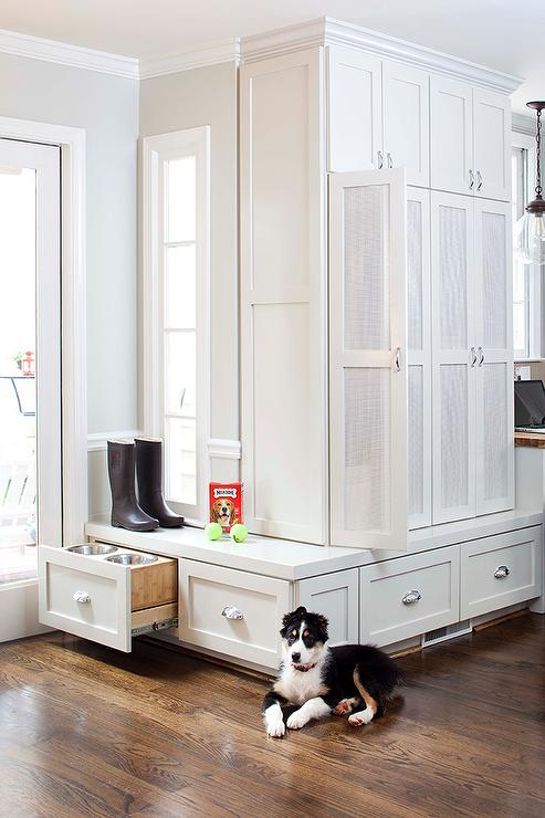 Mudroom Storage With Doors : White mudroom lockers with mesh doors transitional