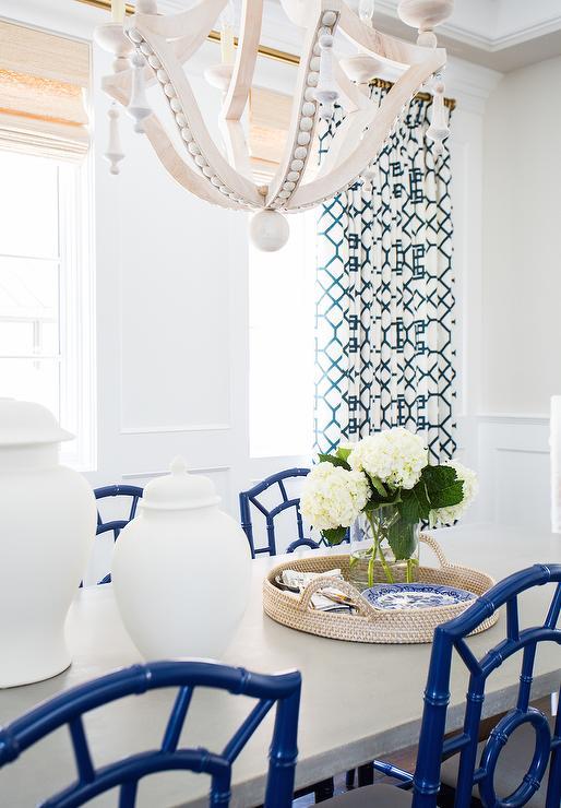 Blue Trellis Curtains On Brass Drapery Rods
