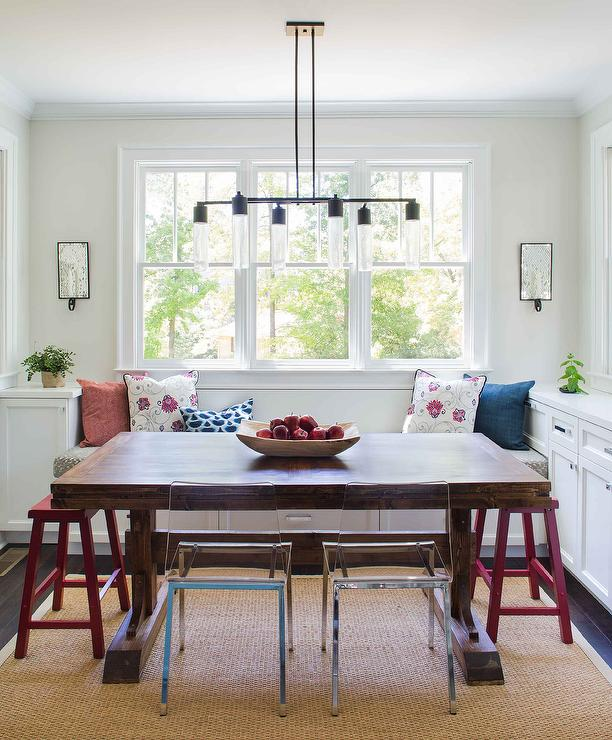 Pretty Breakfast Nook Is Filled With A Built In Bench Window Seat Facing A  Dark Stained Wood Trestle Dining Table Lined With Red Sawhorse Stools And  Ikea ...
