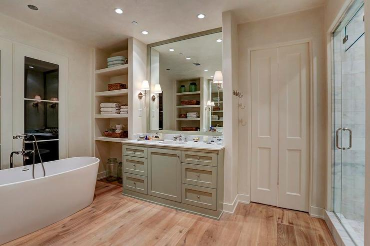 Oval Freestanding Tub In Front Of French Doors Cottage