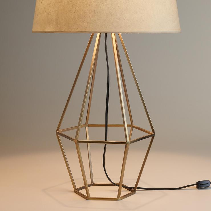 Brass Diamond Table Lamp Base In Brass