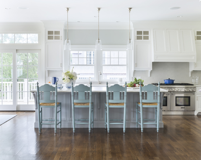 Gray Kitchen Island with Turquoise Blue Stools, Cottage, Kitchen