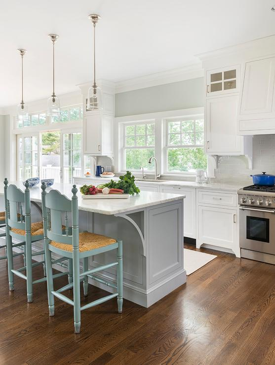 Turquoise Blue Counter Stools With Rush Seats Cottage