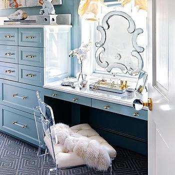 Blue Makeup Vanity With Lucite Chair