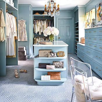 Blue Walk In Closet Design