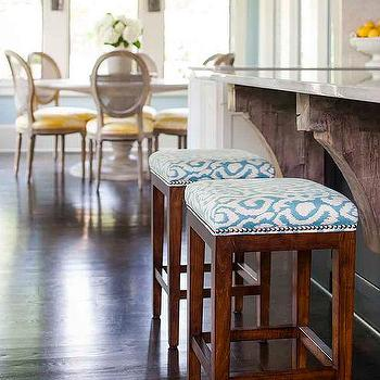 Island With Turquoise Nailhead Stools