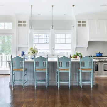 Cottage Kitchen Island With Turquoise Blue Barstools