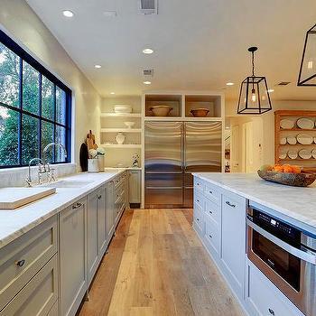Kitchen Island With Restoration Hardware Modern Filament Pendants Spacious Cottage Design Ideas