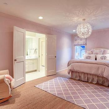 lavender and purple striped walls - contemporary - girl's room
