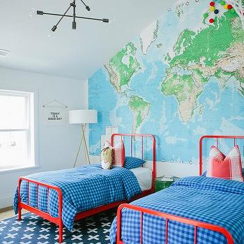 World Map Accent Wall Traditional Boy S Room Sherwin