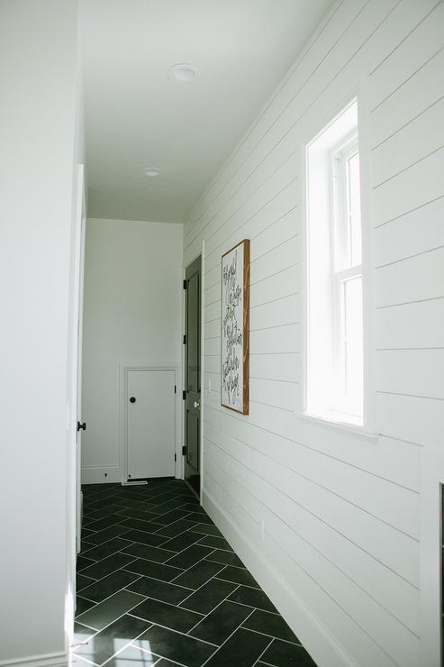 White Shiplap Mudroom With Gray Slate Herringbone Floor