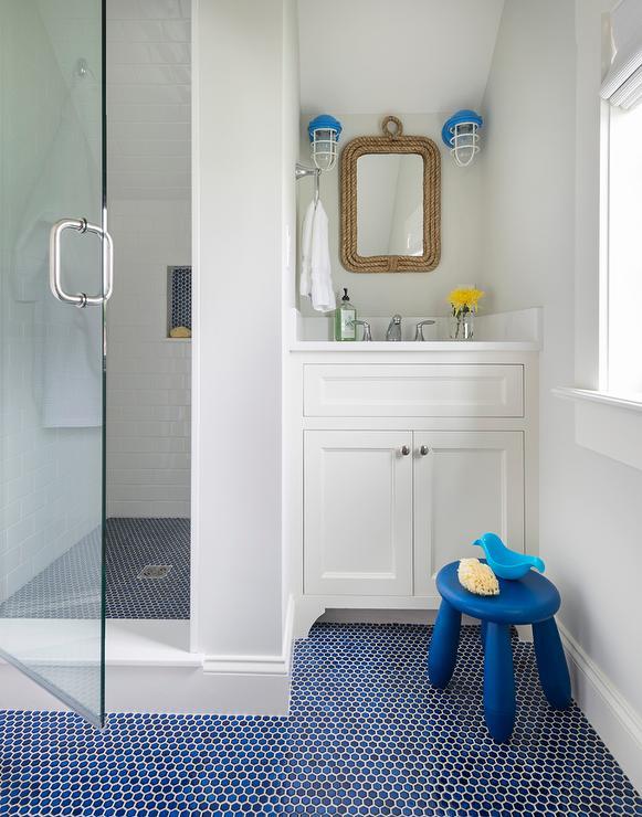 Blue Nautical Kids Bathroom view full size. Rope Kids Bathroom Mirror Design Ideas