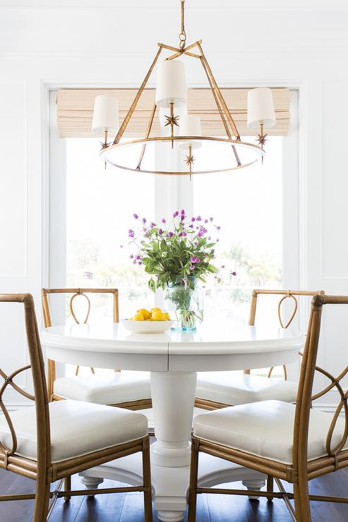 White Round Dining Table with Bamboo Dining Chairs. White Round Dining Table with Bamboo Dining Chairs   Transitional