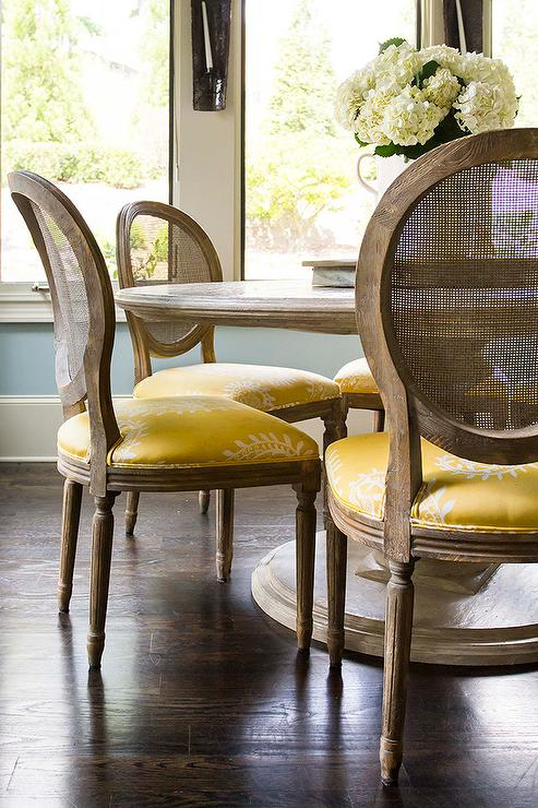 Round Marble Top Dining Table With Round Cane Back Chairs And Yellow Seat Cus