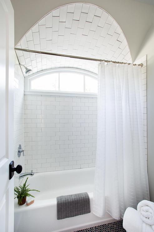 Subway Tiled Tub Shower Combo Design Ideas
