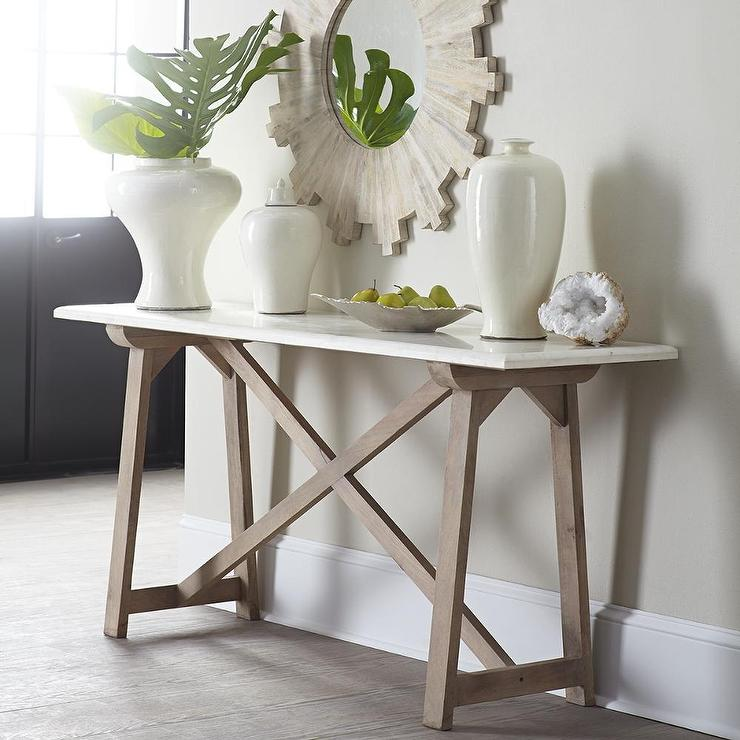 Marble Top Console Table In White And Natural