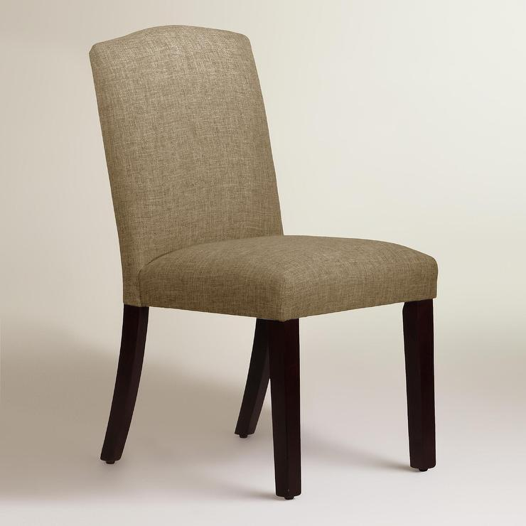 Linen blend rena upholstered dining chair in cobblestone for Upholstered linen dining chairs