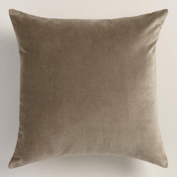 Throw Pillows Taupe : Walnut Taupe Velvet Throw Pillow
