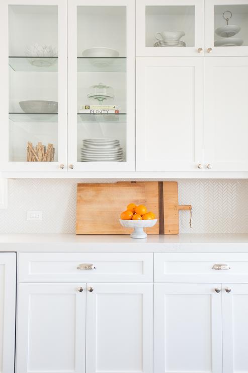 white mini herringbone kitchen backsplash transitional. Black Bedroom Furniture Sets. Home Design Ideas